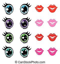 lèvres, yeux, mignon, icônes, ensemble, kawaii