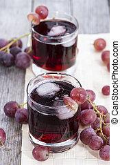 lé, behűtött, szőlő, piros