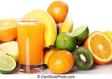 lé, friss gyümölcs, pohár