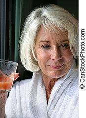 lé, ivás, gyümölcs, hölgy, öregedő