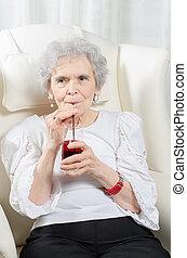 lé, ivás, nő, öreg, piros