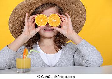 lé, leány, narancsfák