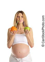 lé, nő, terhes, gyümölcs, iszik
