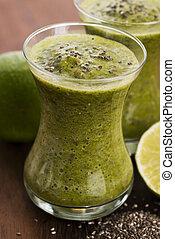 lé, smoothie, gyümölcs, egészséges, szemesedik, zöld növényi, friss, chia