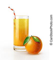 lé, szalmaszál, floor., pohár, gyümölcs, narancs