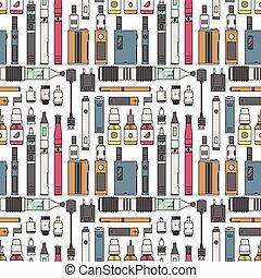 lé, vaporizer, seamless, motívum, vektor, dohányzó, e-liquid, eszköz, elektronikus, nikotin, ábra, aroma, felteker, gőz, vape, palack, cigaretta, háttér., elem, porlasztó, folyékony