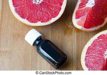 lédús, concept., grapefruit., friss, olaj, üvegpalack, alapvető, ásványvízforrás