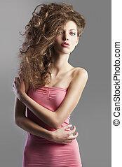 légèrement, jolie fille, cheveux, style., grand, figure, élevé, elle