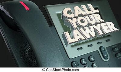 légal, aide, avocat, procès, sue, appeler, ton, téléphone, ...