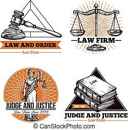 légal, bureau, logo, ensemble, firme