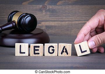 légal, droit & loi, concept, marteau, sur, bureau bois