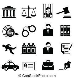 légal, droit & loi, et, justice, icônes