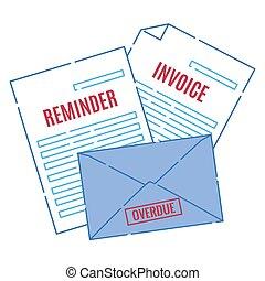 légal, facture, lettres, pile, paiement, retard