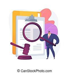 légal, illustration., concept, recherche, résumé, vecteur
