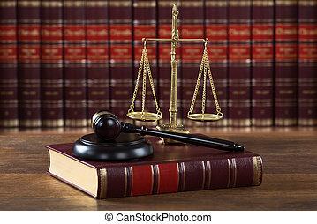 légal, justice, maillet, échelle, table, livre
