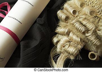 légal, nature morte, de, barrister's, perruque, robe, et, bref