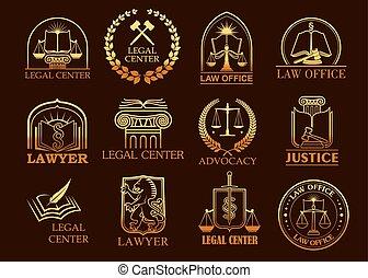 légal, or, avocat, vecteur, ou, icônes, centre, juridique
