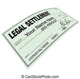 légal, règlement, -, chèque blanc, disbersement
