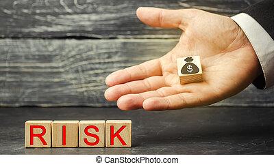 légal, risques, businessman., inscription, concept financier, decision., propriété, dollars, risque, marché, investir, insurance., business, droit, project., confection, mains