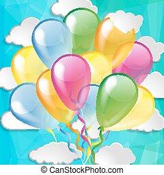 léggömb, ég, sima, háttér, többszínű