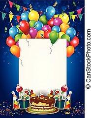 léggömb, és, konfetti, noha, cédula, helyett, születésnap