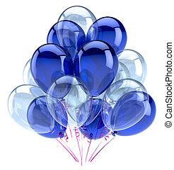 léggömb, fél, boldog születésnapot, dekoráció, kék, fehér, sima