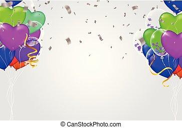 léggömb, háttér, színes