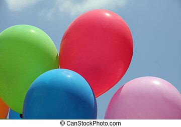 léggömb, közben, egy, fél, helyett, gyerekek, képben látható, egy, napos nap
