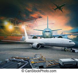 légi teherszállítás, és, teherárú sima, berakodás, kereskedés, ingóságok, alatt, repülőtér, konténer, parkolóhely, alkalmaz, helyett, hajózás, és, légiszállítás, munkaszervezési, iparág