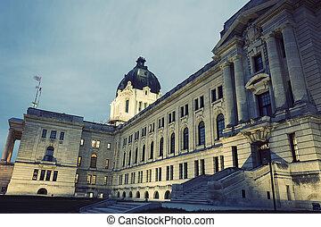 législatif, saskatchewan, regina, bâtiment
