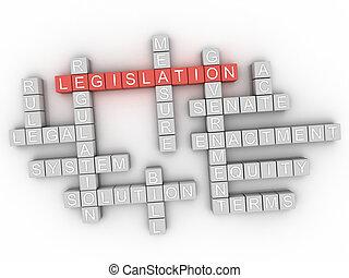 législation, concept, mot, nuage, 3d