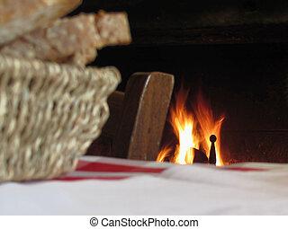 légkör, öreg, égető, szüret, ország, kosár, szék, kandalló, bread