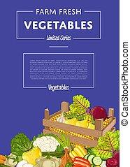 légume, agriculture organique, bannière, vecteur