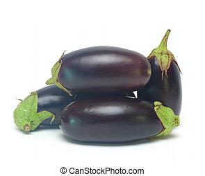 légume, blanc, isolé, aubergine