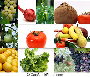 légume, collage, fruits