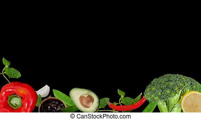 légume, cuisinier, mouvement, ingrédient, fruits
