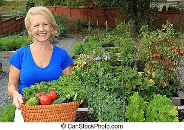 légume, dame, jardinier