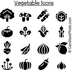 légume, ensemble, icône