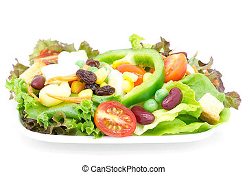 légume, frais, blanc, isolé, salade
