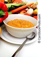 légume, frais, végétariens, soupe