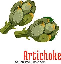 légume, frais, vert, artichaut, icône