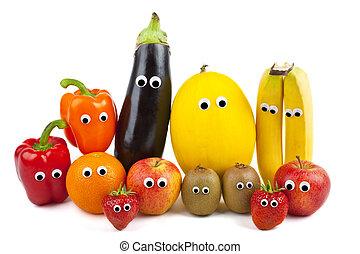légume, fruit, famille