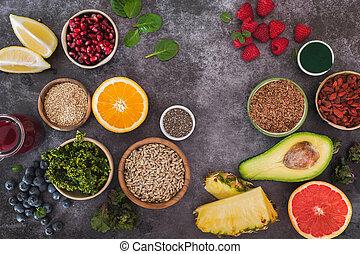 légume, fruit, superfoods, fond, sélection