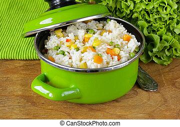 légume, garnir, riz, divers