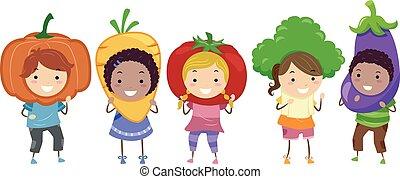 légume, gosses, stickman, déguisement, illustration