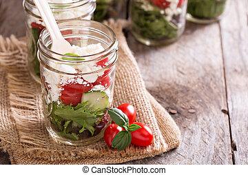 légume, grec, pot, salade