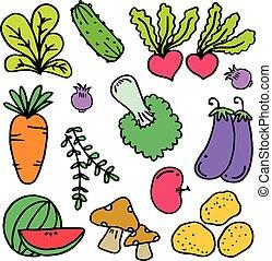 légume, griffonnage, vecteur, ensemble, illustration