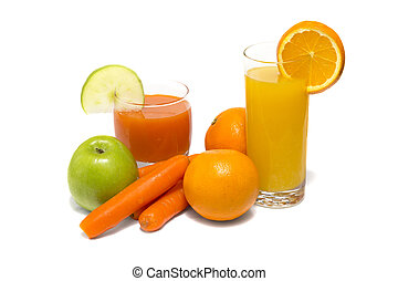 légume, jus pomme, carotte, orange, frais