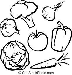 légume, -, noir, contour, illustration
