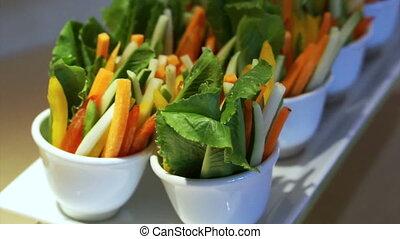 légume, nourriture, salade, doigt, buffet